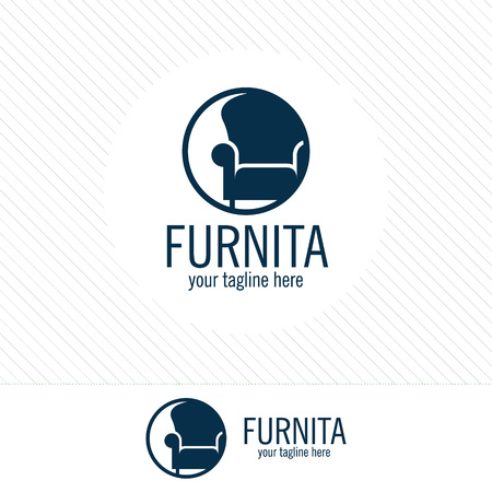 Abstract furniture logo design concept. Symbol and icon of chairs, sofas, tables, and home furnishings.  イラスト・ベクター素材
