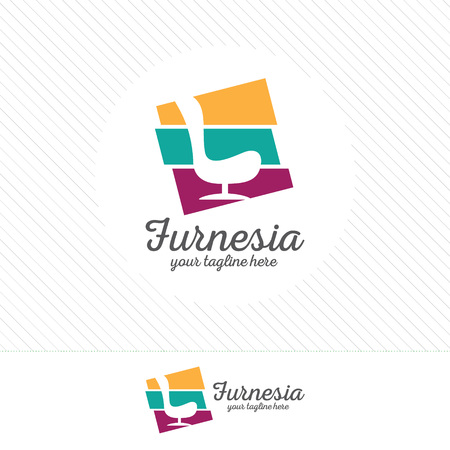Abstract furniture logo design concept. Symbol and icon of chairs, sofas, tables, and home furnishings. Illusztráció