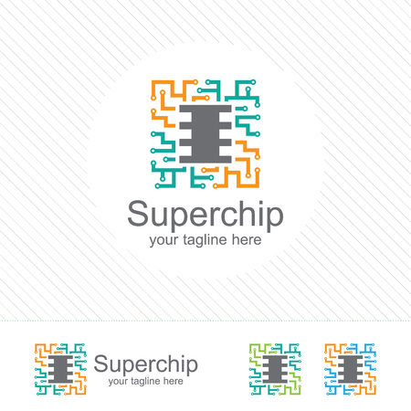 micro chip: Abstract micro chip symbol logo . processor icon with technology element vector.