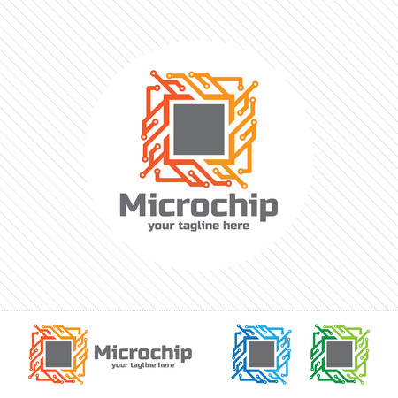 chips: Abstract micro chip symbol logo . processor icon with technology element vector.