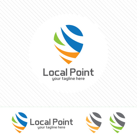 locator: Pin locator logo design template. Pin maps symbol vector . Clean colorful design Gps locator with arrow concept. Illustration