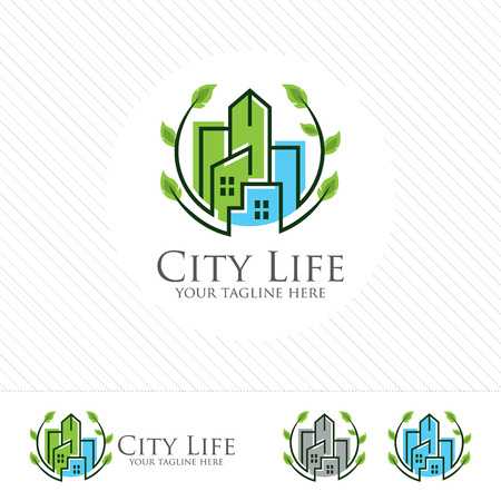 Abstract green city building logo design concept. Symbol icon of residential, apartment and city landscape.  イラスト・ベクター素材