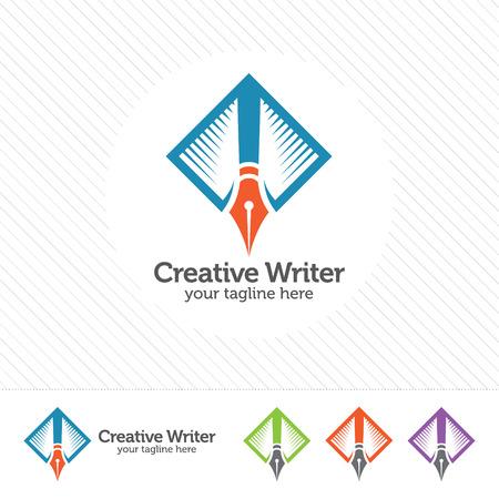 Writer logo design vector. Pen concept design for writer or blogger . Illustration