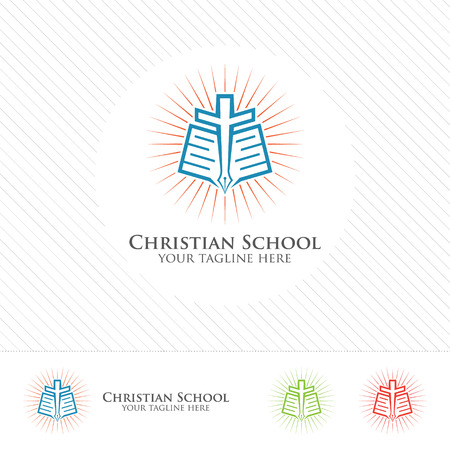 school: Abstract christian school logo design vector. Creative logo concept of book, cross and pen . Illustration