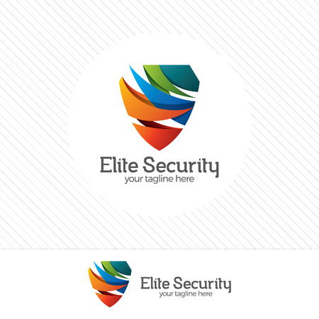 security symbol: Shield security logo design vector. Security guard symbol icon. Protection shield vector with technology symbol.