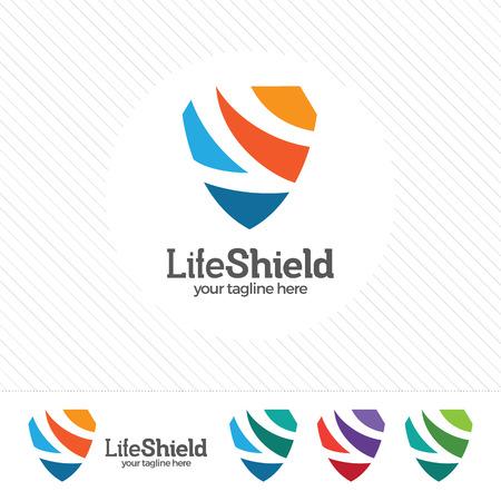 防衛: Shield security logo design vector. Security guard symbol icon. Protection shield vector with technology symbol. Letter S with shield symbol.  イラスト・ベクター素材