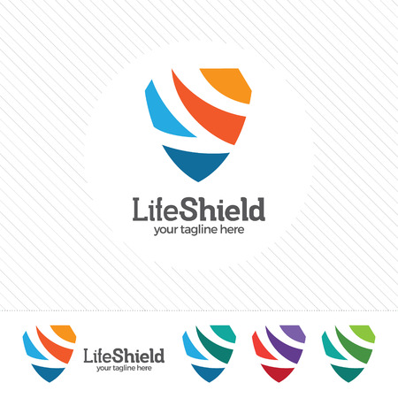 Shield security logo design vector. Security guard symbol icon. Protection shield vector with technology symbol. Letter S with shield symbol. Illustration