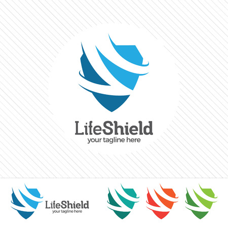 security symbol: Shield security logo design vector. Security guard symbol icon. Protection shield vector with technology symbol. Letter S with shield symbol. Illustration