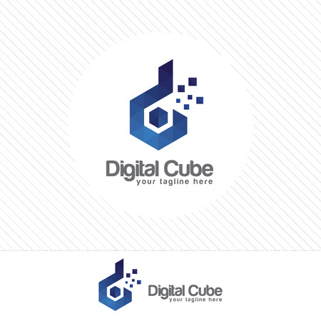 d: Colorful letter D logo design vector with triangle Pixel and polygonal style .