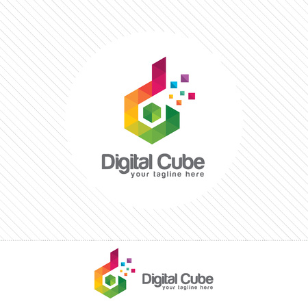 Colorful letter D logo design vector with triangle Pixel and polygonal style .