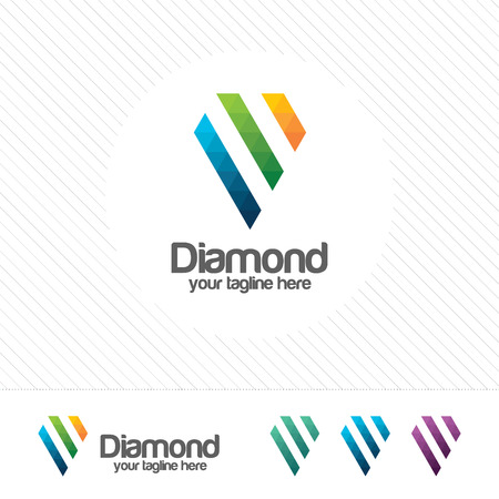 Diamond logo design vector with triangle pixel concept. Colorful and modern design vector of diamond logo template. Suitable for studio company, web design, technology, communication. 向量圖像