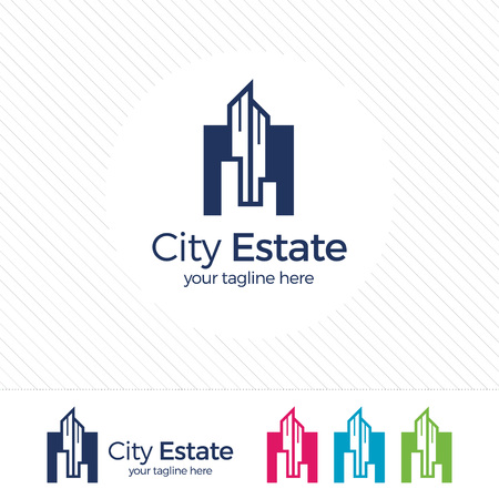 building color: Real estate logo design vector with flat color concept. Clean and modern design of real estate and city building logo template.