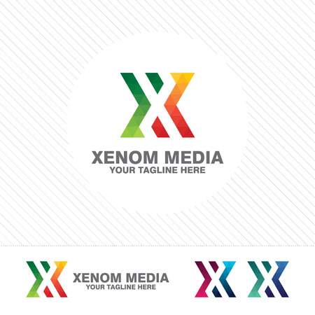 Colorful letter X logo design vector for technology. Digital logo pixel concept with shades gradient color.