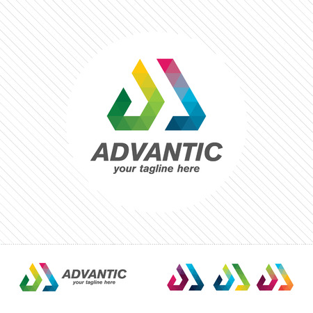 Colorful letter A logo design vector for technology. Digital logo pixel concept with shades gradient color.