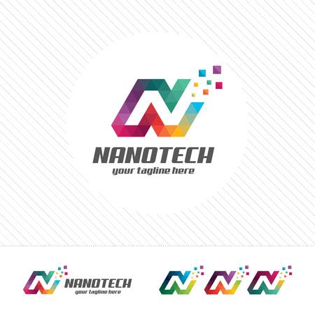 Colorful letter N logo design vector for technology. Digital logo pixel concept with pixel shades gradient color. 向量圖像