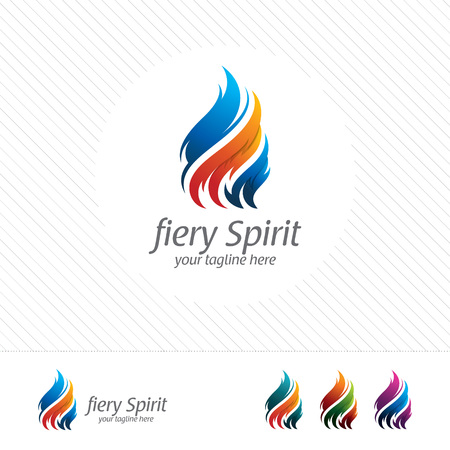 Colorful flame and fire logo design vector with modern look and gradient color. 向量圖像
