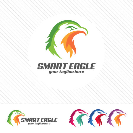 abstract: Eagle head logo design vector with flat color . Abstract eagle mascot illustration .