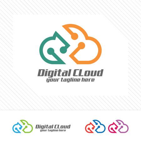 デジタル雲のロゴのデザインのベクトル。テクノロジーのシンボルである雲のアイコン。