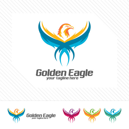 Eagle head logo design vector with flat color . Abstract eagle mascot illustration .