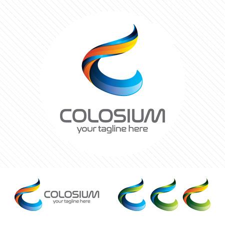 Colorful letter C logo design vector for technology. Digital logo pixel concept with pixel shades gradient color. 向量圖像