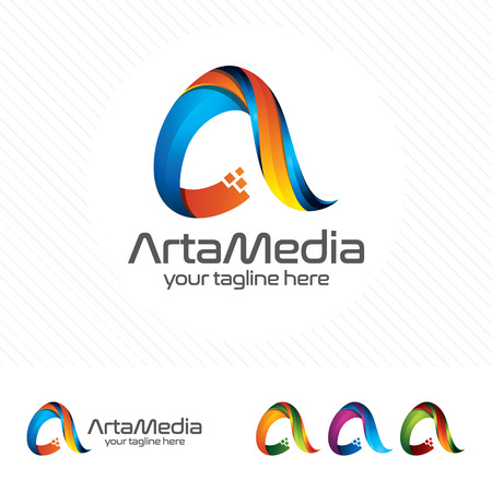 Colorful letter A logo design vector for technology. Digital logo pixel concept with pixel shades gradient color.