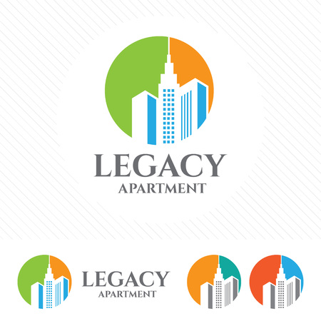 Abstract apartment building logo design concept. Symbol icon of residential, real estate, property and city landscape. 向量圖像