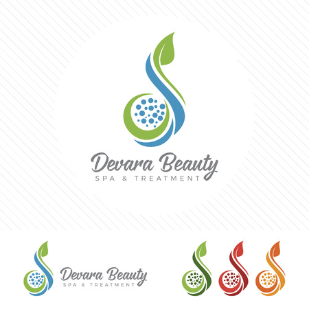 Set of spa logo vector design. Wellness, yoga, health and cosmetic element collection. Ilustracja