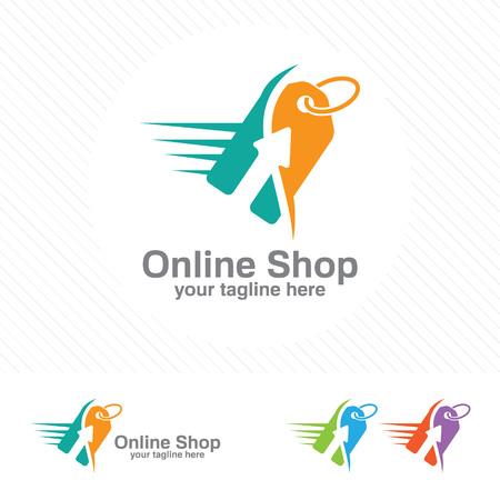 Vector de diseño de logotipo de tienda en línea. Carro de la compra y el concepto de diseño de logotipo de etiqueta de precio. Plantilla de logotipo de etiqueta de precio. Logos