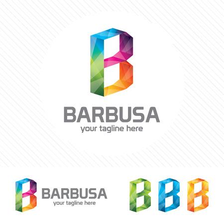 Colorful letter B logo design vector for technology. Digital logo pixel concept with pixel shades gradient color. 向量圖像