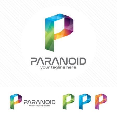Colorful letter P logo design vector for technology. Digital logo pixel concept with pixel shades gradient color. 向量圖像