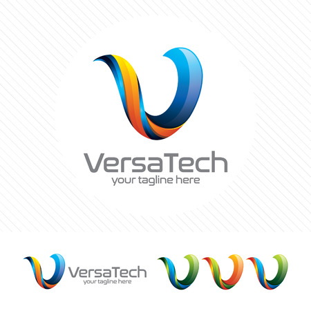 Colorful letter V logo design vector for technology. Digital logo pixel concept with pixel shades gradient color. Ilustrace