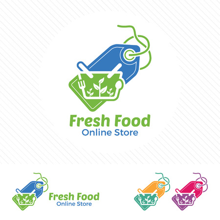 Fresh food online store logo design vector.  Price tag logo with vegetable and food in the shopping cart icon symbol.