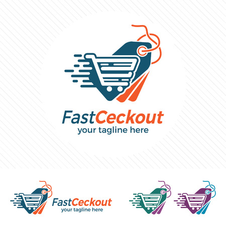 Price tag logo design vector with trolley icon , fast shopping illustration for online shop transaction.