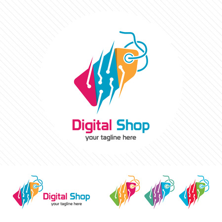 Price tag logo design with technology element vector icon , shopping electronic goods illustration for online shop transaction.
