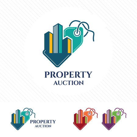retail sales: Price tag logo design with property and real estate vector Auction logo concept for buying, selling or looking for property prices.