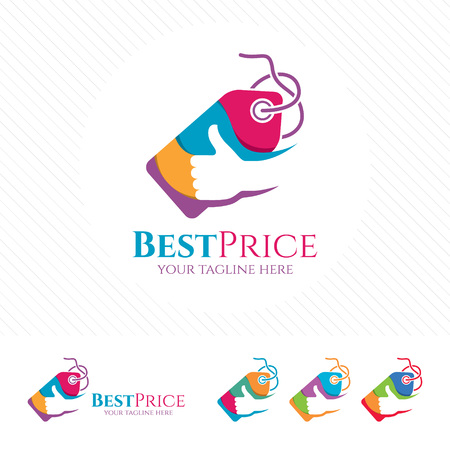 Price tag logo design with thumb up vector Shopping logo concept for buying or selling at online store.