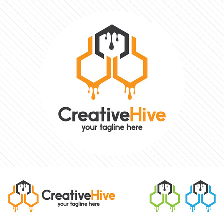 Hive and honeycomb logo vector. Beehive symbol vector.