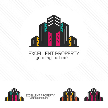 Clean modern real estate and property logo. A Hotel and apartment symbol vector.