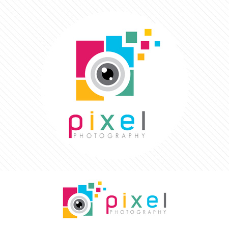 Abstract colorful photography logo. Simple clean and Modern style camera lens icon vector . Vettoriali