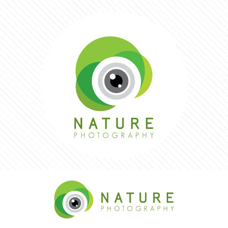 Camera lens and green symbol combination, suitable for landscape photographer.