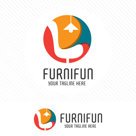 Colorful furniture. Symbol and icon of chairs, sofas, tables, and home furnishings. 向量圖像