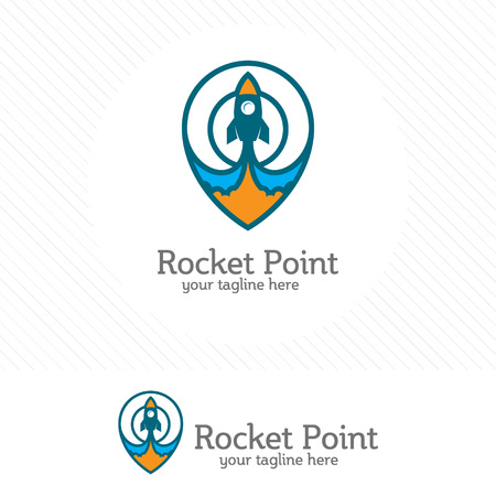 Rocket point design vector with map pin combination.