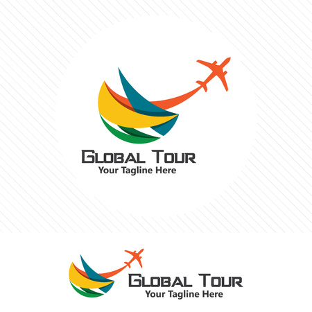 Colorful travel concept, airplane icon with abstract element.