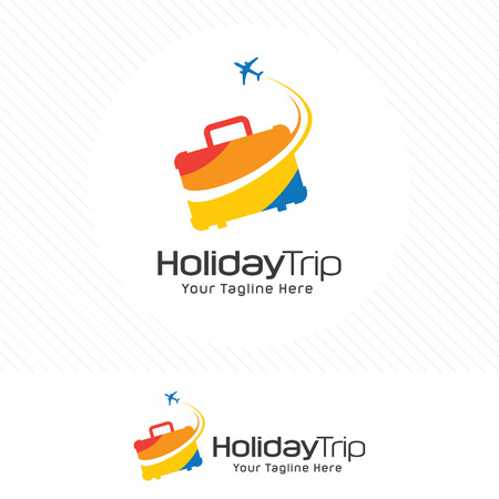 Travel and tour concept, suitcase icon with airplane symbol. Vectores