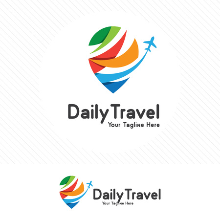 Travel and tour concept, airplane icon with pin map symbol.