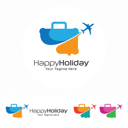 Travel and tour concept, suitcase icon with airplane symbol. 向量圖像