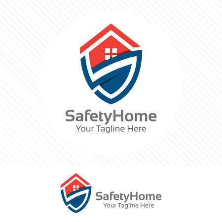 Safety home. Protection concept with shield and house combination.