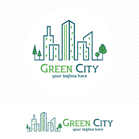 Green city building, residential, apartment and city landscape vector.
