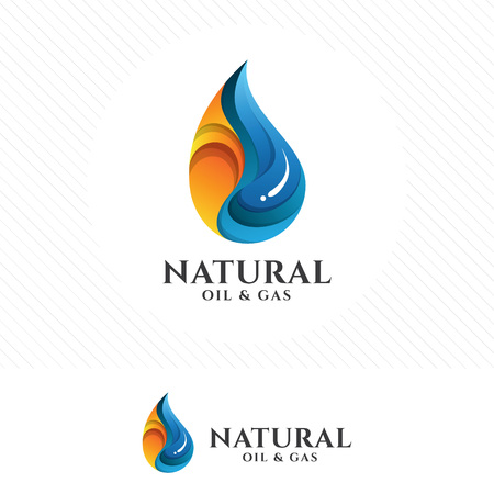 Colorful Oil and gas with 3D style design vector.