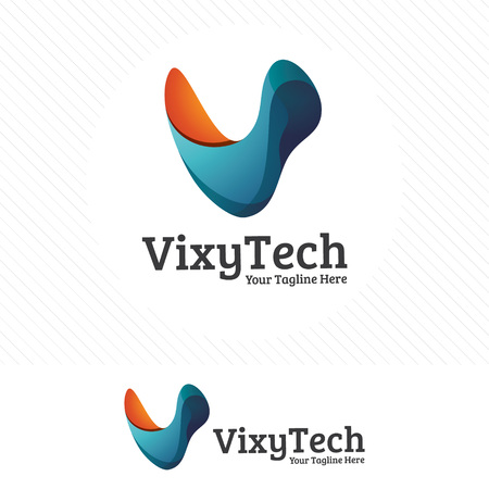 Letter V, colorful and modern design concept with 3d style . 向量圖像